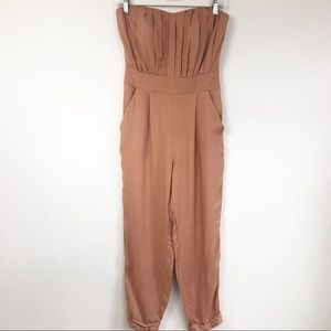 ASOS Petite Strapless Pink Jumpsuit